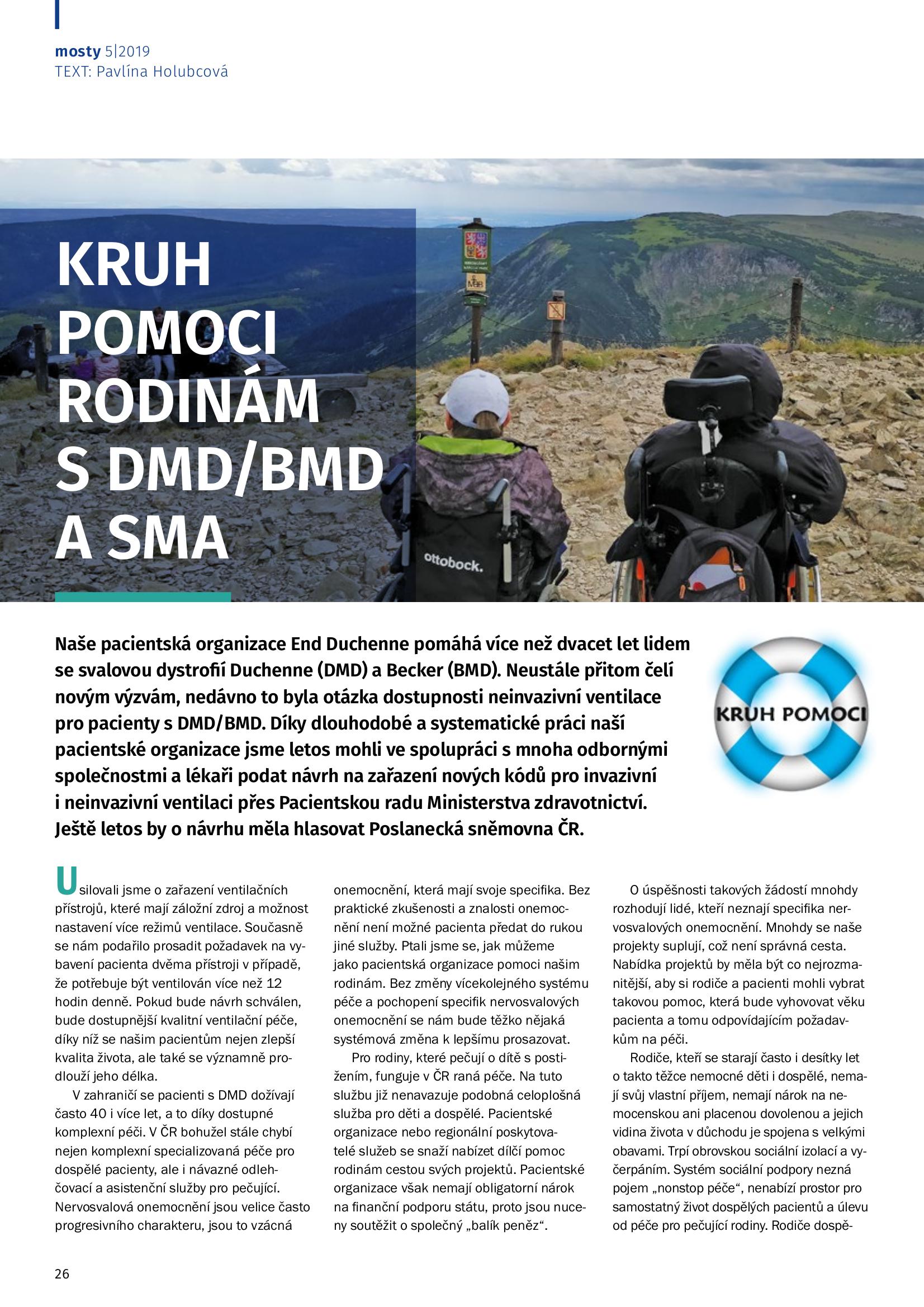 Kruh pomoci rodinám s DMD/BMD a SMA - časopis Mosty